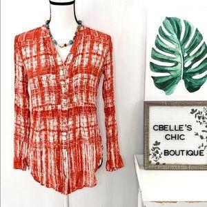 Anthropologie Maeve Calia Orange Tie-Dye Tunic Top